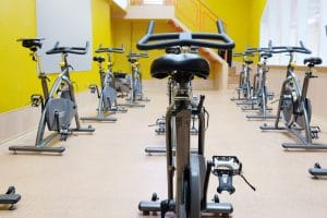 Fitness bycicles in gym - Fitness Expo